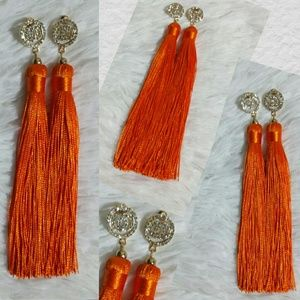 Jewelry - Bling Ring Tassel Earrings-Tangerine